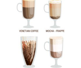 Four flavors coffee vector