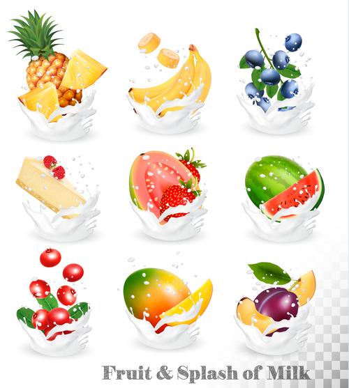 Fresh fruit and milk vector