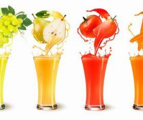 Fresh fruit squeezed juice vector