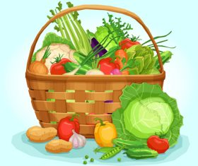 Fresh vegetables in wicker basket vector illustration