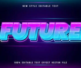 Future editable text effect modern neon style vector