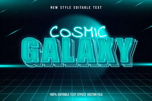 Galaxy editable text effect modern neon style vector