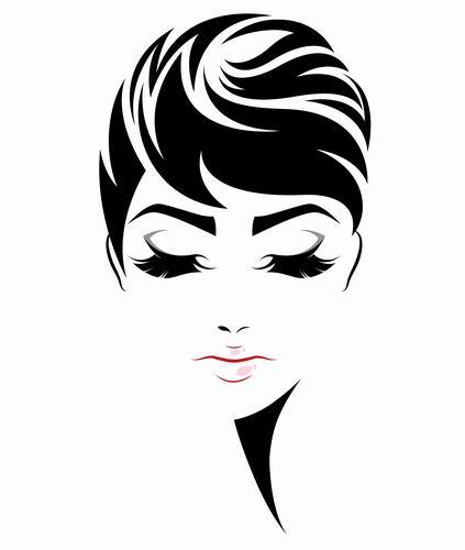 Girl short hair styling vector