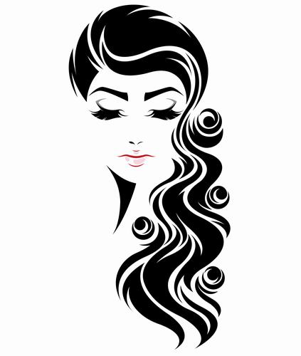 Girl with beautiful long curly hair styling vector