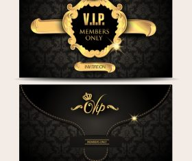 Gold VIP textured envelope with floral background vector