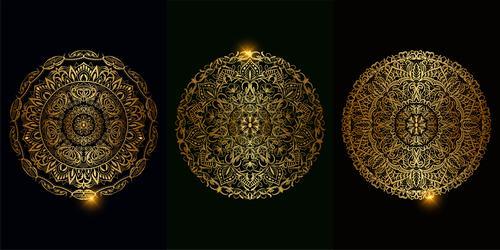 Golden beautiful mandala ornament vector
