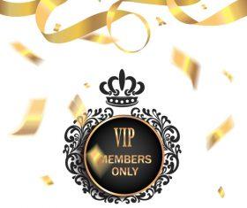 Golden confetti background invitation card vector
