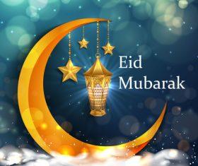 Golden crescent eid mubarak background vector