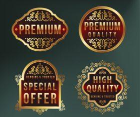 Golden frame sale label vector