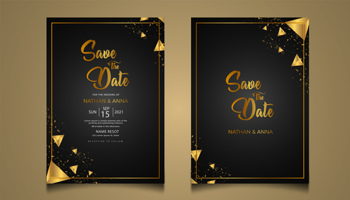 Golden geometric decoration luxury wedding invitation vector card