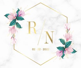 Golden geometric frame wedding invitation card vector