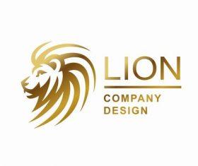 Golden lions company design vector