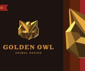 Golden owl logo vector