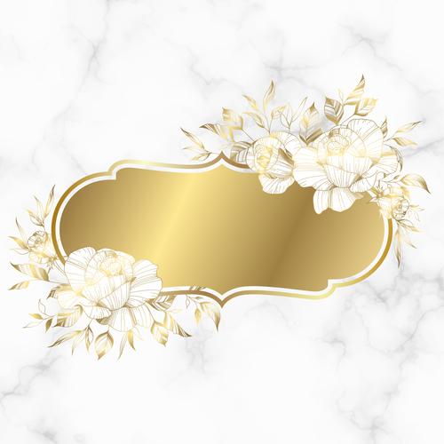 Golden vintage frame wedding invitation card vector