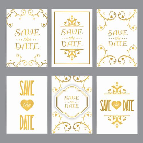Golden wedding card oriental style vector
