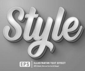 Gray editable font effect text vector