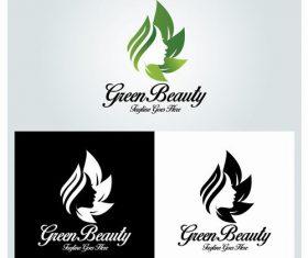 Green beaut beauty salon logo vector
