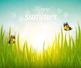 Green grass and sun and butterfly summer background vector