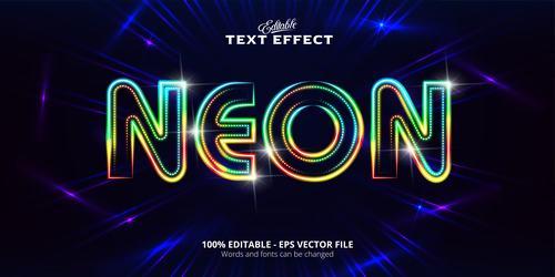 Green light font text effect vector
