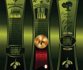 Green olive oil labels on dark green background vector