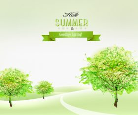 Green trees and landscape nature background vector