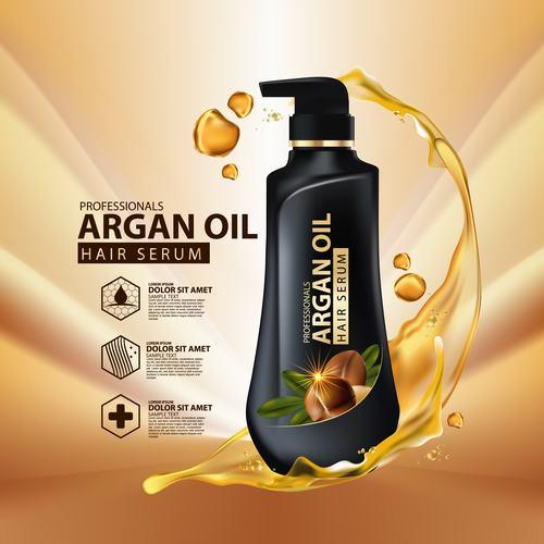 Hair care essence advertisement vector