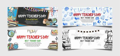 Hand drawn banner happy teachers day vector