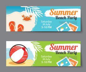 Hand drawn beach party banner vector
