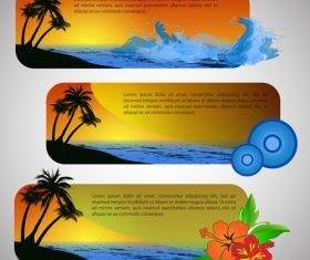 Hand drawn seaside landscape banner vector