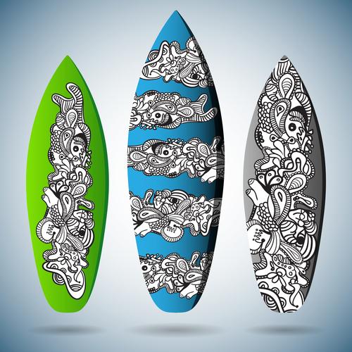 Hand drawn skateboard pattern vector
