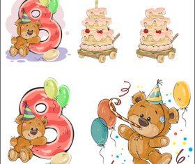 Happy Eighth Birthday Cartoon Vector
