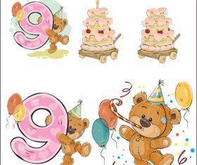 Happy birthday cartoon vector for 9 years old