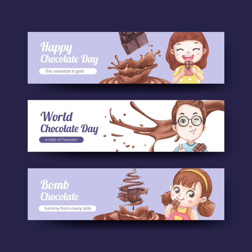 Happy chocolate day banner vector