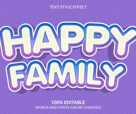 Happy family text style effect vector
