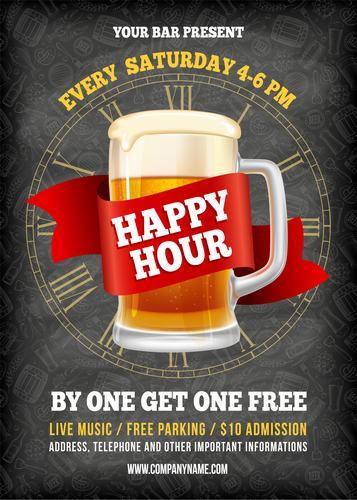 Happy hour beer vector