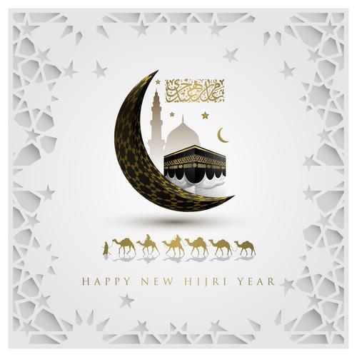 Happy new hijri year islamic illustration background vector