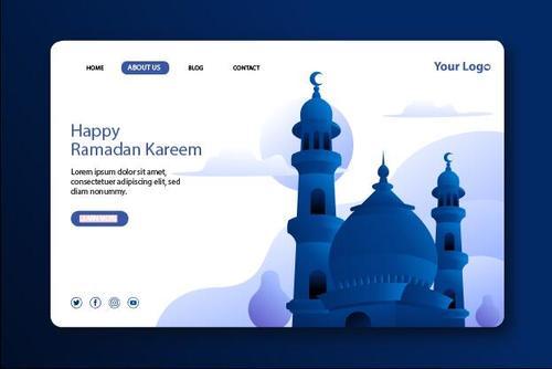 Happy ramadan kareem login website page design vector