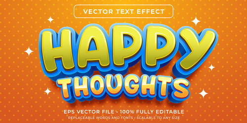 Happy thoughts editable font effect text vector