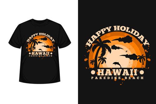 Hawaii paredise beach T shirt design vector