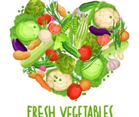 Heart made by different vegetables on white vector