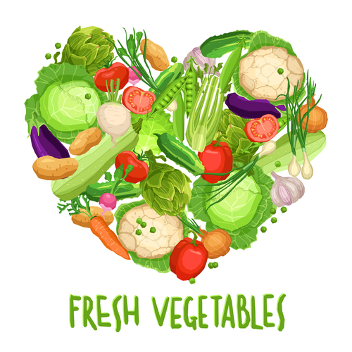 Heart made by different vegetables on white with