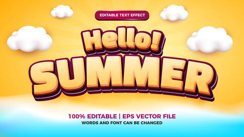Hello summer editable text effect cartoon style vector