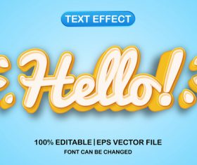 Hello text font style vector