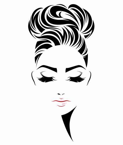 High hair bun style girl vector