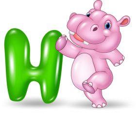 Hippo and alphabet vector