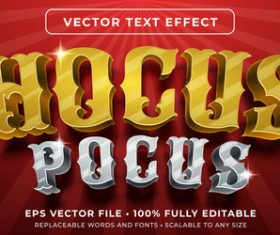 Hocus pocus editable font effect text vector