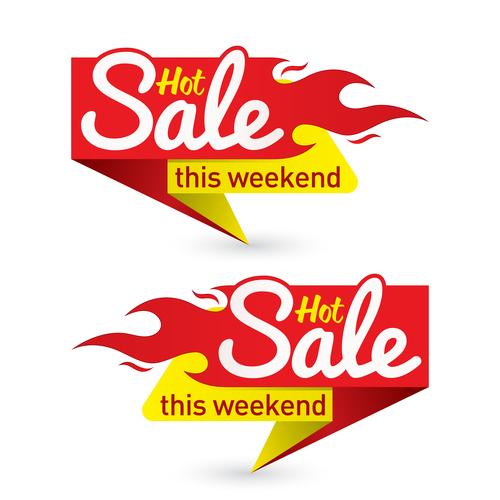 Hot salet this weekend label vector