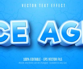 Ice age editable font effect text vector
