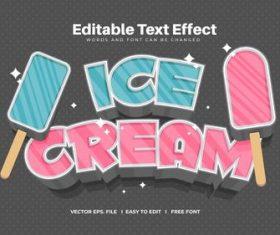 Ice cream text effect vector