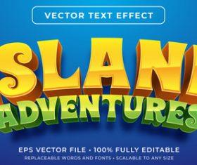 Island adventures editable font effect text vector